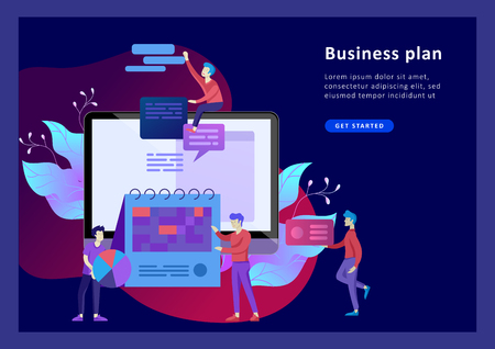 Landing page template of planning timework management people. Businnes Start Up Concept. Income and Success. Workers are studying the infographic, the analysis of evolutionary scale. Vector Business