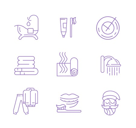 Vector icon and logo for sleeping. Editable outline stroke size. Line flat contour, thin and linear design. Simple icons. Concept illustration. Sign, symbol, element. Illustration