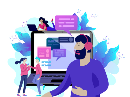 Concept Landing page template customer service, male hotline operator advises client, online global technical support, customer and operator Illusztráció