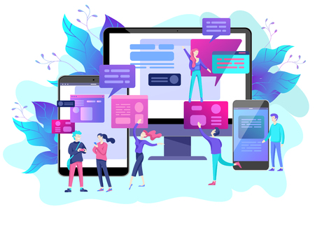 Vector illustration, small people are working on creating a website, applications, transferring information, vector illustration of the concept of web page design and development of mobile websites, Stock fotó - 113856359