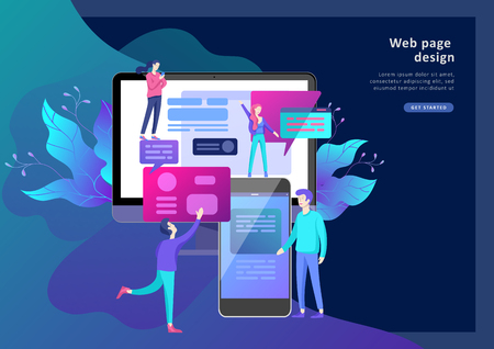 Vector illustration, small people are working on creating a website, applications, transferring information, vector illustration of the concept of web page design and development of mobile websites, Stock fotó - 113856361