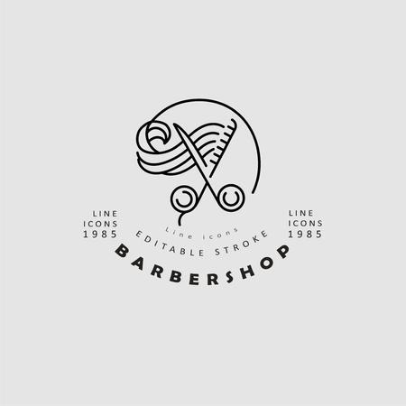 Icona di vettore e logo per barbiere e salone di bellezza. Dimensione del tratto modificabile del contorno. Linea contorno piatto, design sottile e lineare. Icone semplici. Illustrazione di concetto. Segno, simbolo, elemento.