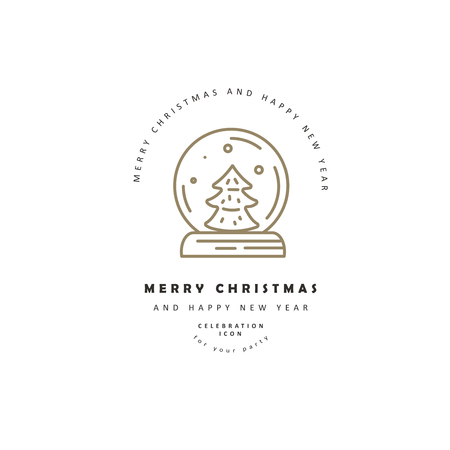 Vector icon and logo celebration Merry Christmas and Happy New Year . Editable outline stroke size. Line flat contour, thin and linear design. Simple icons. Concept illustration. Sign, symbol, element.