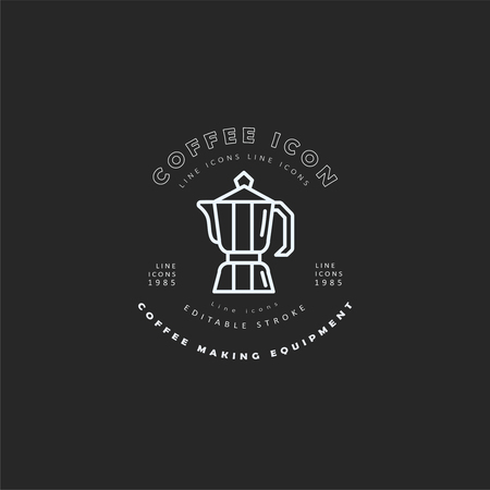Vector icon and logo for coffee making equipment. Editable outline stroke size. Line flat contour, thin and linear design. Simple icons. Concept illustration. Sign, symbol, element. Ilustração