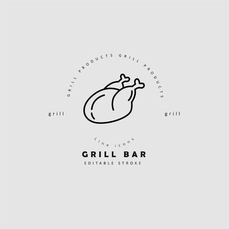 Vector icon and logo for meat and grill cafe or steak restaurant. Editable outline stroke size. Line flat contour, thin and linear design. Simple icons. Concept illustration. Sign, symbol, element. Archivio Fotografico - 113856429