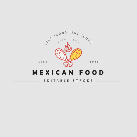 Vector icon and logo for mexican food. Editable outline stroke size. Line flat contour, thin and linear design. Simple icons. Concept illustration. Sign, symbol, element.