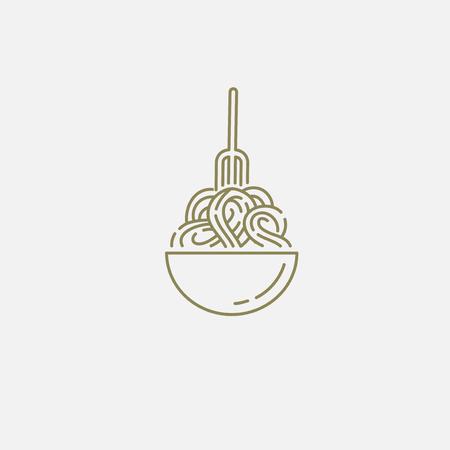 Icona di vettore e logo per pasta o noodles italiani. Dimensione del tratto modificabile del contorno. Linea contorno piatto, design sottile e lineare. Icone semplici. Illustrazione di concetto. Segno, simbolo, elemento.