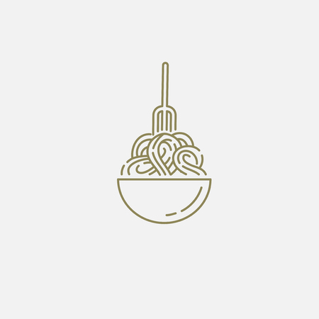 Icono de vector y logo para pasta italiana o fideos. Tamaño de trazo de contorno editable. Línea de contorno plano, diseño delgado y lineal. Iconos simples. Ilustración de concepto. Signo, símbolo, elemento.