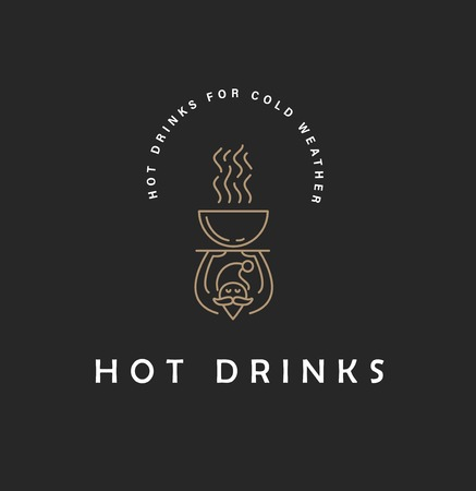 Vector icon and logo hot drinks for cold weather, merry Christmas and Happy New Year . Editable outline stroke size. Line flat contour, thin and linear design. Simple icons. Concept illustration. Sign, symbol, element. Illustration