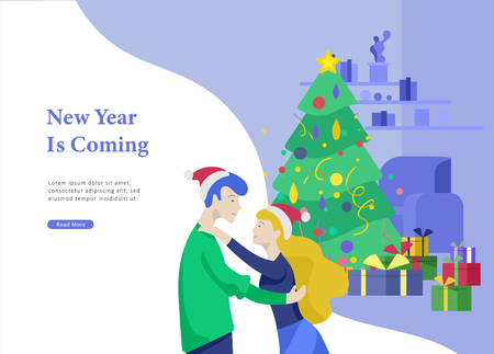 Landing page template or greeting card winter Holidays. Merry Christmas and Happy New Year Website with People Characters happy romantic couple in love hugging on home interior living room background