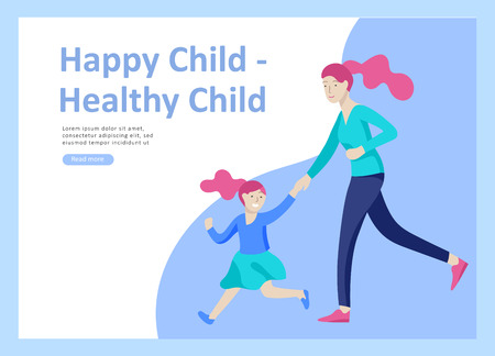 Set of Landing page templates for happy mothers day, child health care, happy childhood and children, goods and entertainment for mother with children. Parent with daughter or son have fun togethers Banque d'images - 114159758