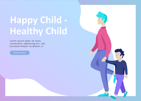 Landing page templates for happy Fathers day, child health care, happy childhood and children, goods and entertainment for Father with children. Parents with daughter and son have fun togethers Banque d'images - 114159759