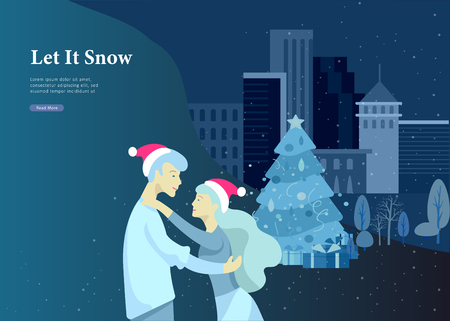 Landing page template or greeting card winter Holidays. Merry Christmas and Happy New Year Website with People Characters happy romantic couple in love hugging on Urban snowy landscape background Banque d'images - 114159837