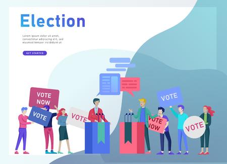 Voto ed elezione concetto. Campagna pre-elettorale. Promozione e pubblicità del candidato. Cittadini che discutono candidato. Voto online e concetto di elezione con le persone. Vettoriali