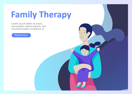 Landing page templates happy family, travel and psychotherapy, family health care, goods entertainment for mother father and their children. Parents with daughter and son have fun togethers