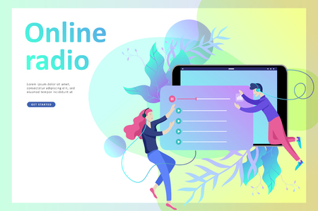 Concept of internet online radio streaming listening, people relax listen dance. Music applications, playlist online songs, radio station. Music blog, sound recording studio. Landing page template. Stock Vector - 113938110