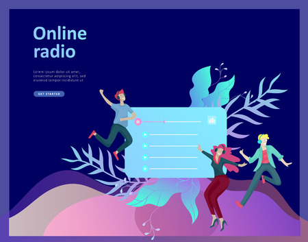 Concept of internet online radio streaming listening, people relax listen dance. Music applications, playlist online songs, radio station. Music blog, sound recording studio. Landing page template. Ilustração