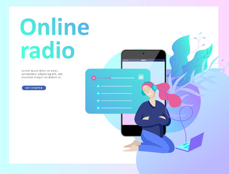 Concept of internet online radio streaming listening, people relax listen dance. Music applications, playlist online songs, radio station. Music blog, sound recording studio. Landing page template. Archivio Fotografico - 126752508