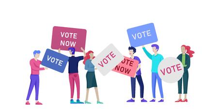Concepto de votación y elección. Campaña preelectoral. Promoción y publicidad de candidato. Ciudadanos debatiendo candidato. Concepto de votación y elección en línea con personas.