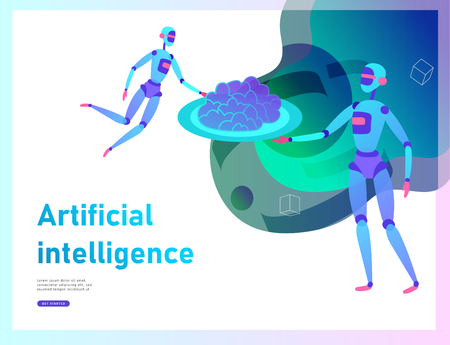 Concept of Artificial Intelligence and Cyber Monday, futuristic cyberpunk design, cyborgs work on surrealistic project, modern nano technology for website and mobile website. Landing page template