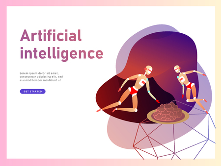 Concept of Artificial Intelligence and Cyber Monday, futuristic cyberpunk design, cyborgs work on surrealistic project, modern nano technology for website and mobile website. Landing page template Фото со стока - 126752522