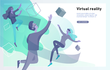 Man and woman wearing virtual reality headset and looking at abstract sphere. Colorful vr world. Virtual augmented reality glasses concept with people learning and entertaining. Landing page template Vektoros illusztráció