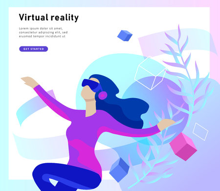 Man and woman wearing virtual reality headset and looking at abstract sphere. Colorful vr world. Virtual augmented reality glasses concept with people learning and entertaining. Landing page template