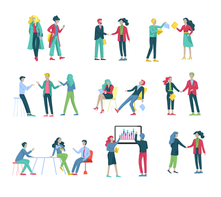 Businessmen making handshake, business etiquette, merger concepts office workers, clerks or managers talking to each other, discussing, depressed Tired male and female office workers sitting, sleeping Vector Illustration