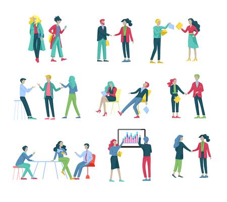 Geschäftsleute machen Händedruck, Geschäftsetikette, Fusionskonzepte, Büroangestellte, Angestellte oder Manager, die miteinander reden, diskutieren, depressiv Müde männliche und weibliche Büroangestellte sitzen, schlafen Vektorgrafik