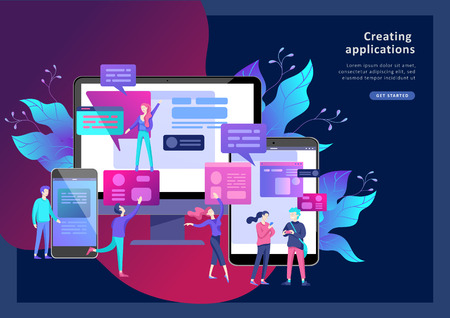 Vector illustration, small people are working on creating a website, applications, transferring information, vector illustration of the concept of web page design and development of mobile websites, Stock fotó - 126752539