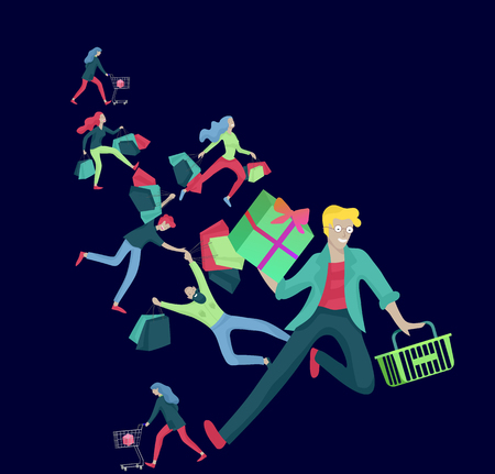 Collection of people carrying shopping bags with purchases. Madness on sale, line of crazy Men and women taking part in seasonal sale at store, shop, mall. Cartoon characters concept for black friday. Ilustracja
