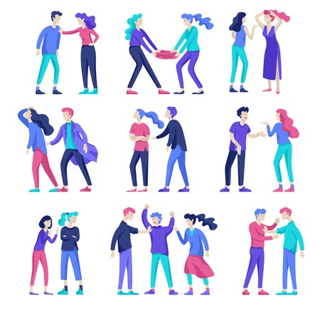 Vector people in bad emotions, character in conflict, angry or tired and in stress. Aggressive people yell at each other. Colorful flat concept illustration. Stok Fotoğraf - 126752541