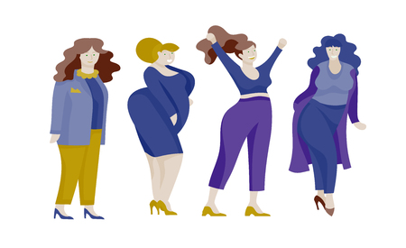 Plus size women dressed in stylish clothing. Set of curvy girls wearing trendy clothes. Happy Female cartoon characters. Bodypositive concept illustration Foto de archivo - 114159877
