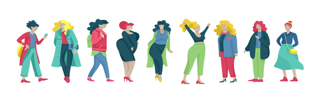 Frauen in Übergröße in stilvoller Kleidung. Satz kurvige Mädchen, die modische Kleidung tragen. Glückliche weibliche Zeichentrickfiguren. Bodypositive Konzeptillustration Vektorgrafik