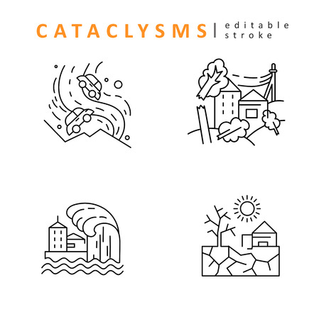 Cataclysms and natural disasters. Vector icon and logo. Editable outline stroke size. Line flat contour, thin and linear design. Simple icons. Concept illustration. Sign, symbol, element. 일러스트