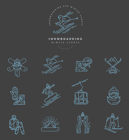Vector icon and logo for snowboarding and skiing or other winter sports. Editable outline stroke size. Line flat contour, thin and linear design. Simple icons. Concept illustration. Sign, symbol, element. Illustration