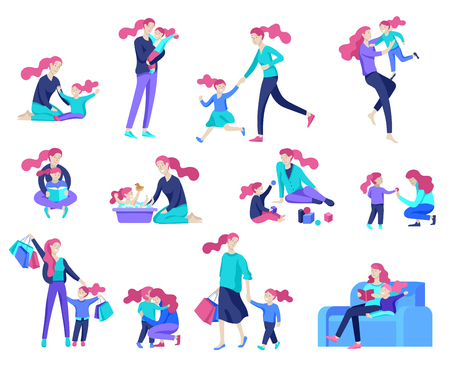 Vector people character. Mother and daughter spending time together, read a book and play, bathe the baby, walk and shopping. Colorful flat concept illustration.