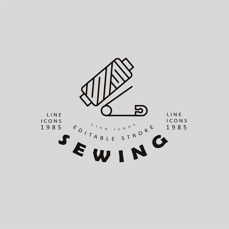 Vector icon and logo sewing and handmade. Editable outline stroke size. Line flat contour, thin and linear design. Simple icons. Concept illustration. Sign, symbol, element. Logo