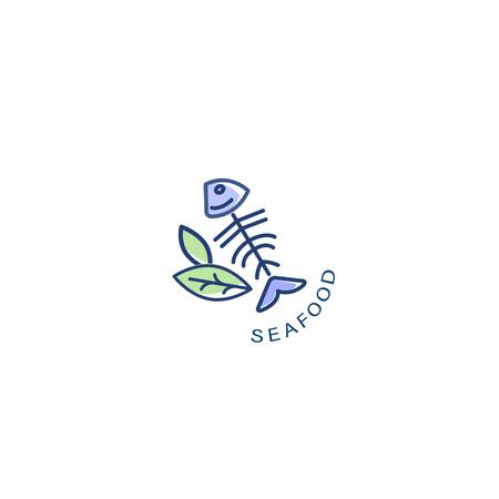 Icône vectorielle et logo pour restaurant ou café de fruits de mer. Taille de trait de contour modifiable. Ligne contour plat, design fin et linéaire. Icônes simples. Illustration de la notion. Signe, symbole, élément.