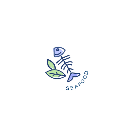 Vector icon and logo for seafood restaurant or cafe. Editable outline stroke size. Line flat contour, thin and linear design. Simple icons. Concept illustration. Sign, symbol, element.  イラスト・ベクター素材