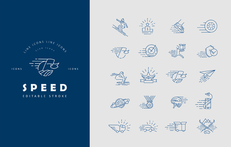 Vector icon and logo for speed. Editable outline stroke size. Line flat contour, thin and linear design. Simple icons. Concept illustration. Sign, symbol, element.