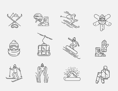 Vector icon and logo for snowboarding and skiing or other winter sports. Editable outline stroke size. Line flat contour, thin and linear design. Simple icons. Concept illustration. Sign, symbol, element. Çizim
