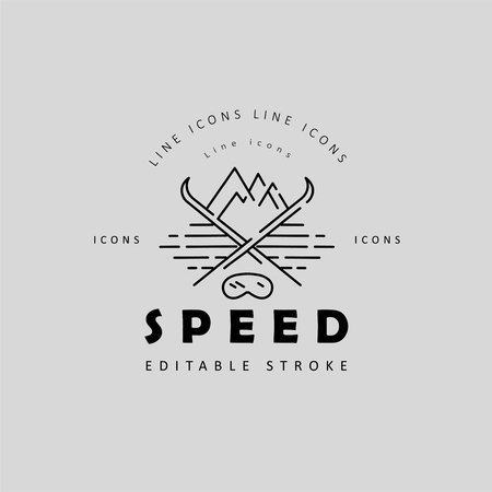 Vector icon and logo for speed motion. Editable outline stroke size. Line flat contour, thin and linear design. Simple icons. Concept illustration. Sign, symbol, element. Stock fotó - 114160100