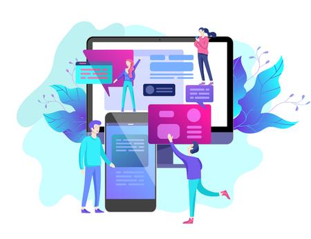 Illustrazione vettoriale, piccole persone stanno lavorando alla creazione di un sito Web, applicazioni, trasferimento di informazioni, illustrazione vettoriale del concetto di progettazione di pagine Web e sviluppo di siti Web mobili,