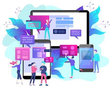 Vector illustration, small people are working on creating a website, applications, transferring information, vector illustration of the concept of web page design and development of mobile websites, Vektoros illusztráció