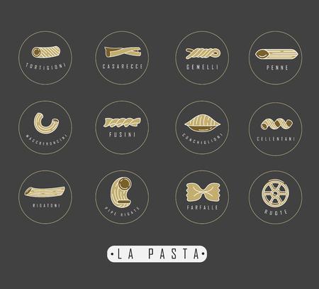 Wektor ikona i logo dla włoskiego makaronu lub kluski. Edytowalny rozmiar obrysu konturu. Płaski kontur linii, cienka i liniowa konstrukcja. Proste ikony. Ilustracja koncepcja. Znak, symbol, element. Logo