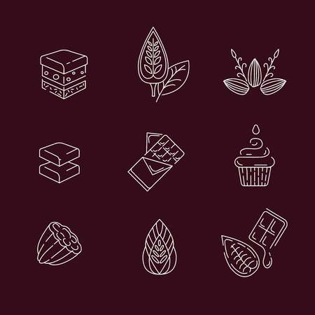 Vector icon and logo for chocolate and sweet. Editable outline stroke size. Line flat contour, thin and linear design. Simple icons. Concept illustration. Sign, symbol, element. Stock Vector - 114160716