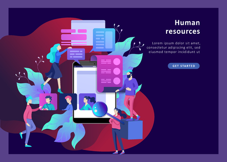 Concept Landing page template Human Resources and selection candidates, banner, presentation, social media. Recruitment for web page. Vector illustration filling out resumes, hiring employees 일러스트