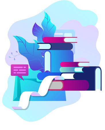 Konzept-Vektor-Illustration von Business-Blogging, Menschen und Bildungstechnologie. Vektorillustrationsnachrichten, Texterstellung, Seminare, Tutorial, kreatives Schreiben, Inhaltsverwaltung für Webseiten, Bannerpräsentation, Social-Media-Dokumente