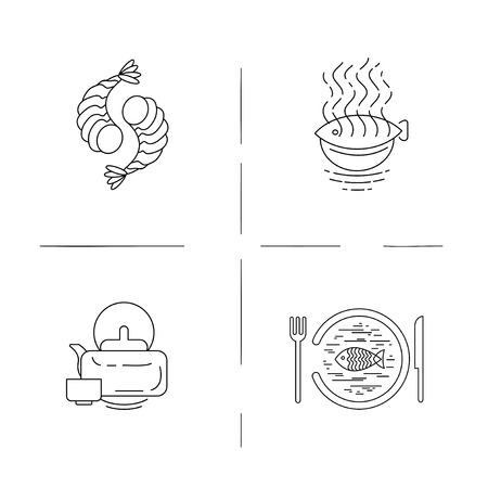 Vector icon and logo for asian, japan food and seafood. Editable outline stroke size. Line flat contour, thin and linear design. Simple icons. Concept illustration. Sign, symbol, element. Archivio Fotografico - 114160810